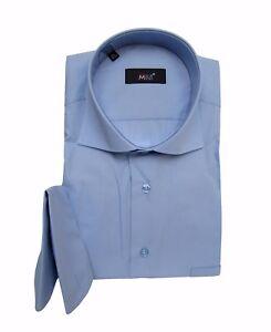 Hemd-mit-Einstecktuch-Haifisch-Kragen-Gr-XL-Blau