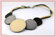 LOVELY BLACK, CREAM & BLUE GREY ENAMELLED DISC DOUBLE THONG ETHNIC NECKLACE (17)