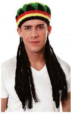 Jamaican Rasta Rastafarian Hat Hair Dreadlocks Party Costume Outfit Joke Funny