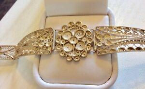 Beautiful-Ladies-Vintage-Solid-Silver-Intricate-Filigree-Bracelet-Lovely