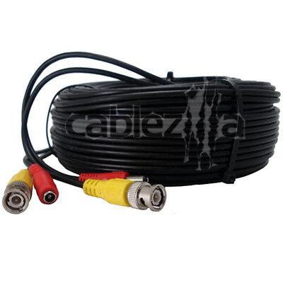 Security Camera Black Video Power Siamese Pre-Made Cable CCTV DVR BNC RCA 30FT