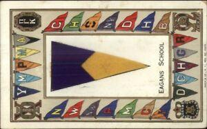 New-York-City-Eagans-School-Felt-Pennant-Greeting-c1910-Postcard