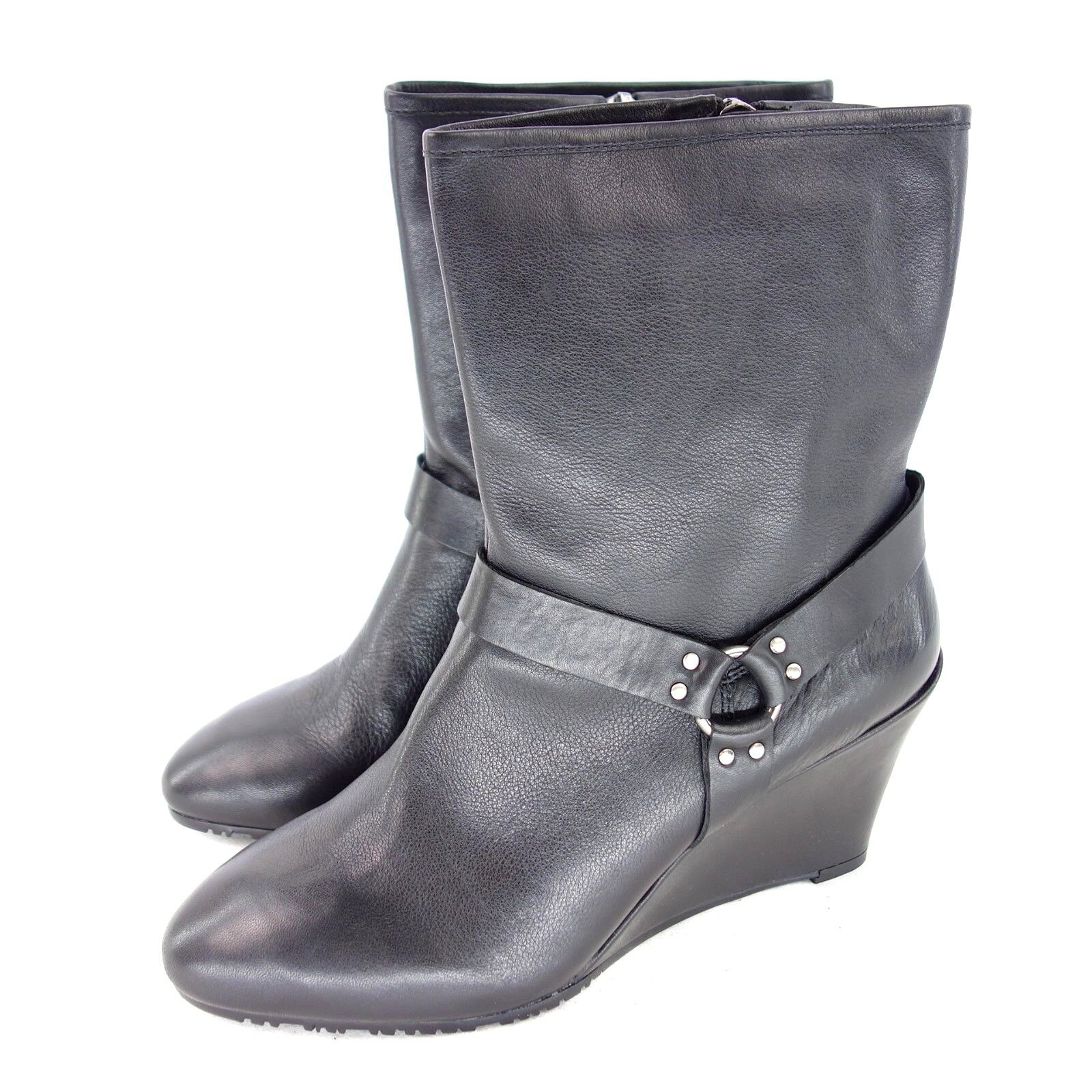 Damens Schuhe KARAN DKNY Damen Stiefeletten Schuhe Damens CICILY Schwarz Leder Keil NP 189 NEU 8dda7b