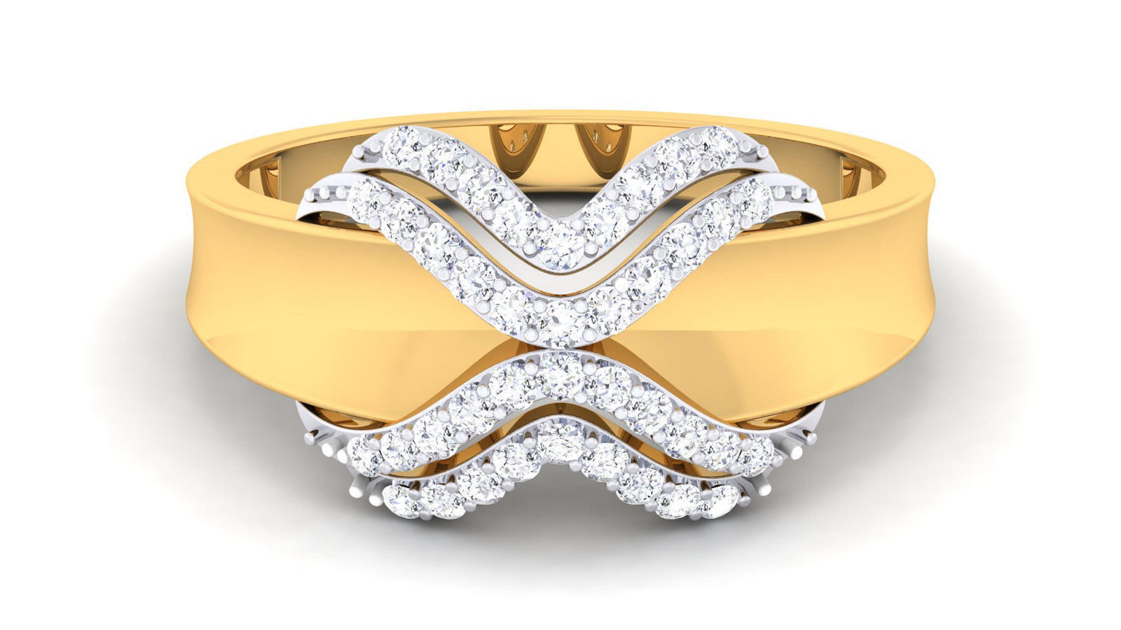 Pave 0.35 Cts Round Brilliant Cut Diamonds Engagement Ring In Solid 18Karat gold