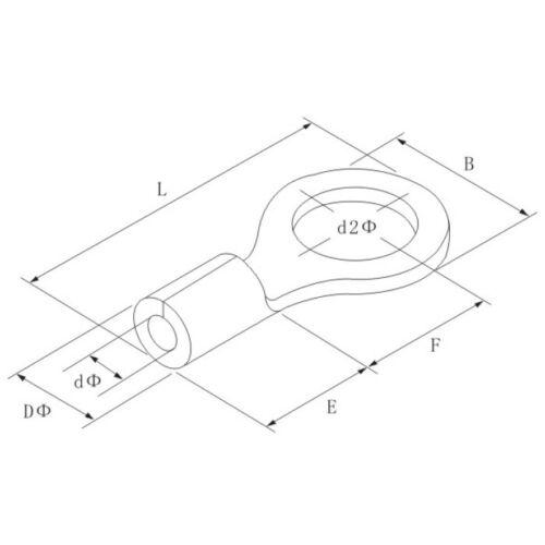 M8 unisoliert Ringschuhe Kabelschuhe 25 x Ringkabelschuhe 0,5-1,5mm²