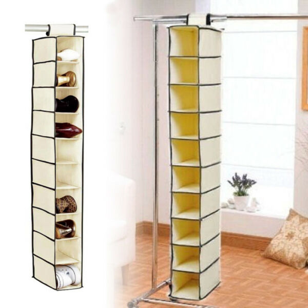 10 Hanging Shelves Pocket Shoes Garments Storage Wardrobe Clothes Tidy Organiser Mooie Glans
