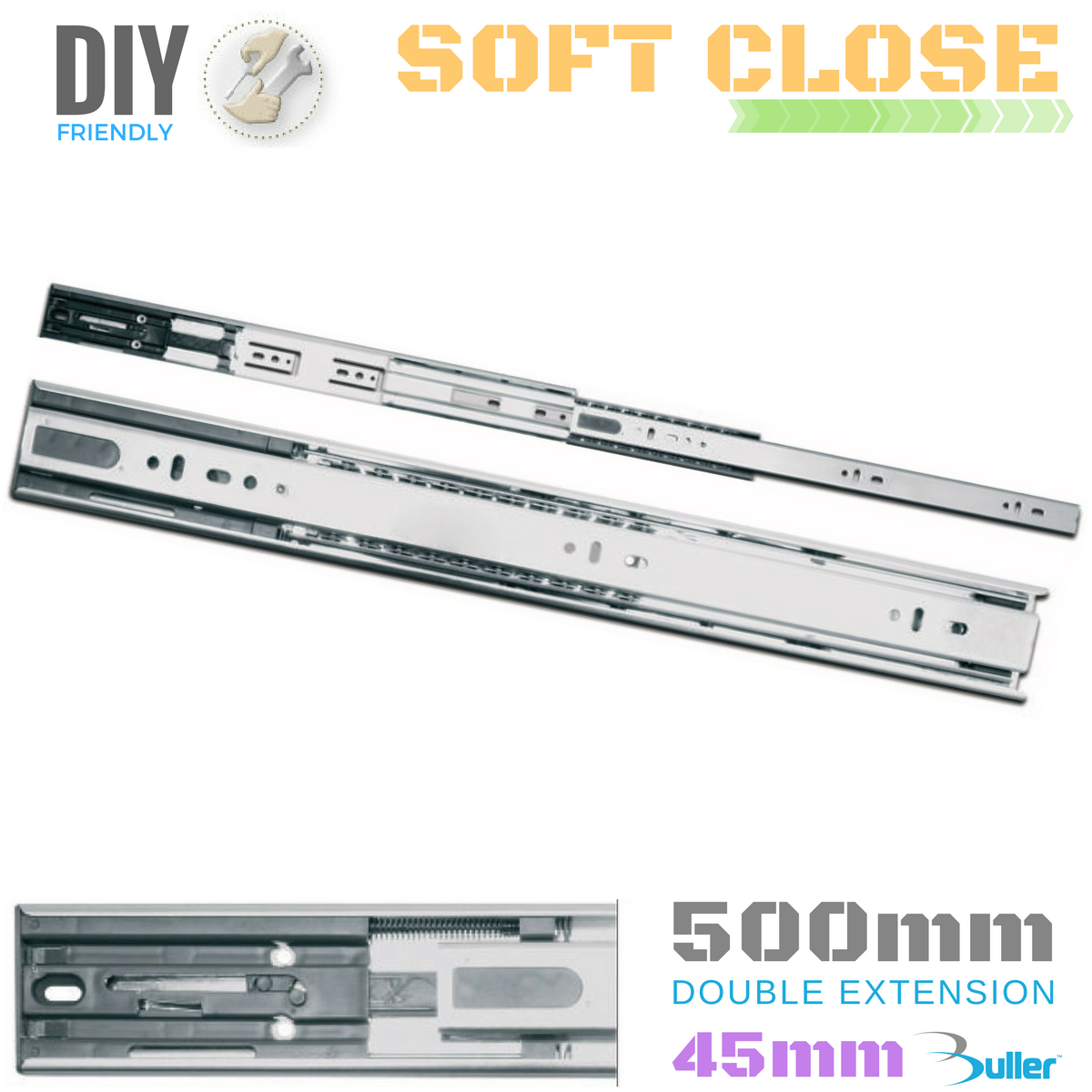 Drawer Runner Slide | Full Extension | 30kg | Soft Close | 45mm | Größe = 500mm