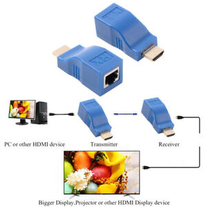 30M-HDMI-To-RJ45-Network-Cable-Extender-Converter-Repeater-Over-CAT-5e-CAT6-New