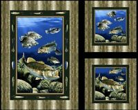 Lure Of The Bass Fish Quilt & Pillow Panels Fabric Cotton