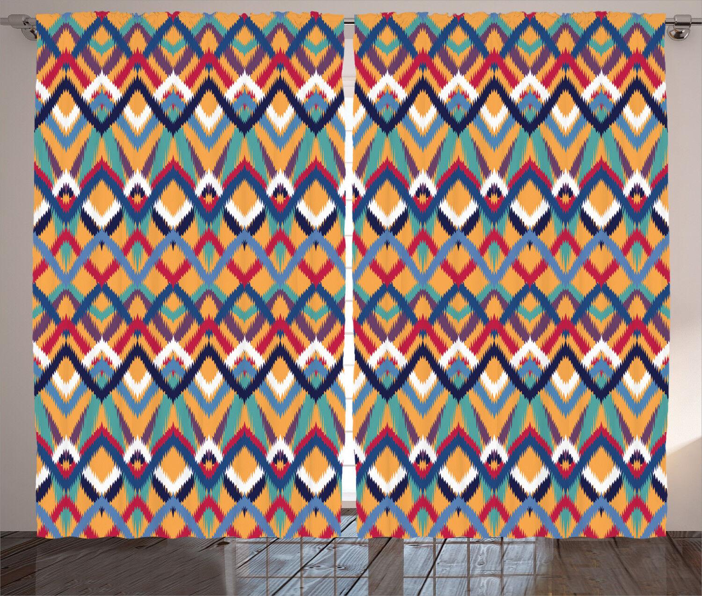 Ventana de arte nativo ceremonical Ikat Cortinas Cortinas 2 pulgadas Panel Set 108x84