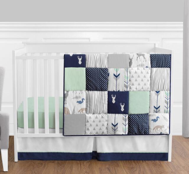 Sweet Jojo Perless Navy Blue Gray Forest Animal Baby Boy 4p Crib Bedding Set