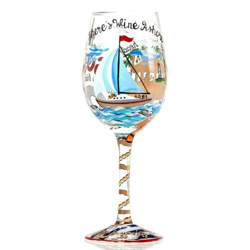 ANCHORS AWAY WINE GLASS*New*NIB*Sailboat*SOS*Enesco*NAVY*4053094 Lolita*15 oz