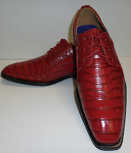 Roberto Chillini 6563 Mens Cherry Red Ultra Gator Embossed Oxford ...