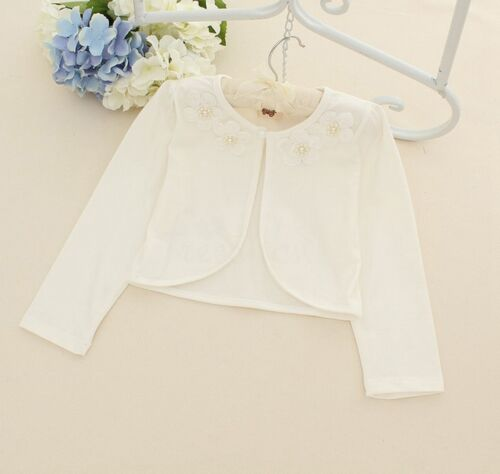 Girls Kids Bolero Shrug Jacket Flower Bridesmaid Wedding Cardigan Dress Cover