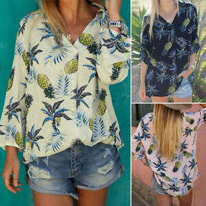 ZANZEA-8-24-Women-Long-Sleeve-V-Neck-Loose-Pineapple-Print-Top-Tee-Shirt-Blouse
