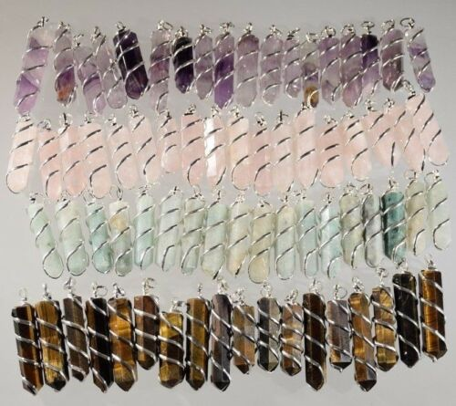 Crystal Pendants Silver Wrapping Spiral Type Large Wholesale lot 10 Wire Wrapped