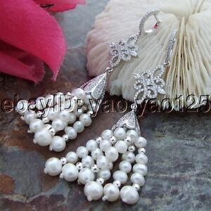 S101614 White Pearl CZ  Lever Back Earrings