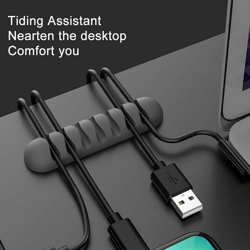 Smart Cable Holder Winder Flexible Silicone Cord Management Clips For USB