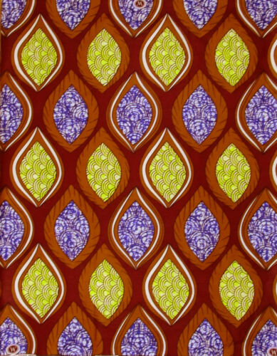 African Fabric 1//2 Yard Wax Cotton BURGUNDY YELLOW PURPLE Golden BROWN Abstract