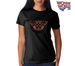 DC-WONDER-WOMAN-SHIELD-BLACK-SYMBOL-WOMEN-039-S-Licensed-T-Shirt-S-XL
