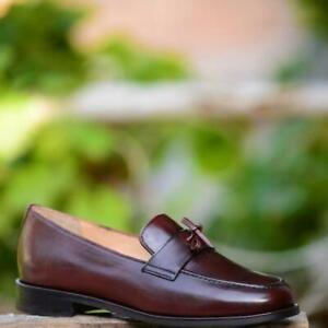 Women-039-s-Handmade-Loafers-Slip-on-Brown-Formal-Casual-Comfort-Calf-Leather-Shoes