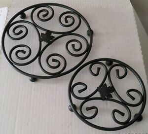 "Longaberger Wrought Iron Trivets Set of 2 Leaf Pattern 6"" and 8"" black"