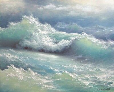 """300-11/""""x 14/"""" GALLERY WRAP CANVAS ART PRINT SEASCAPE Stormy Ocean Pacific Waves"""