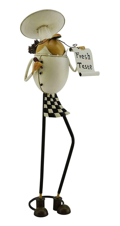 (D) Métal Chef Holding Menu figurine 20 x 6, crémaillère Cadeau