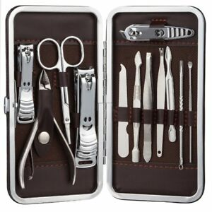 Coupe-Ongles-Manucure-Pedicure-Set-Attention-Personnel-Acier-Inox-avec-14-Pieces