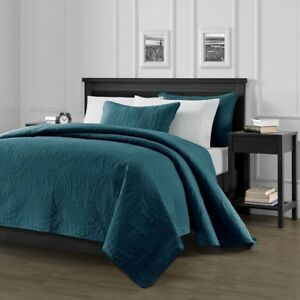 Pinsonic-Quilted-Austin-Oversize-Bedspread-Coverlet-3-piece-Queen-Set-Teal