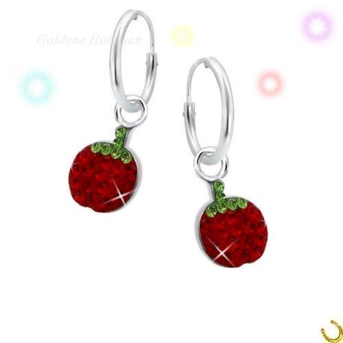 Kristall Apfel Creolen 925 Echt Silber Ohrstecker Kinder Ohrringe Geschenkidee