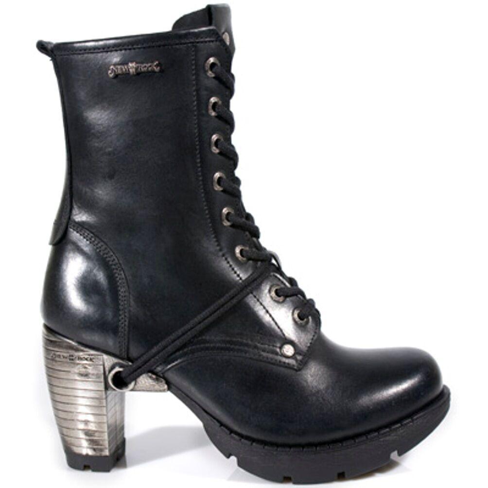 NEWROCK New Rock Womens Boots Style M.TR001 S1 Black Steel Steel Steel Heels 1c485b