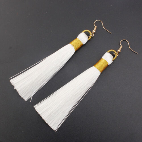1 Pair Women/'s Long Gradient Color Tassel Hook Dangle Pendant Earrings Jewelry