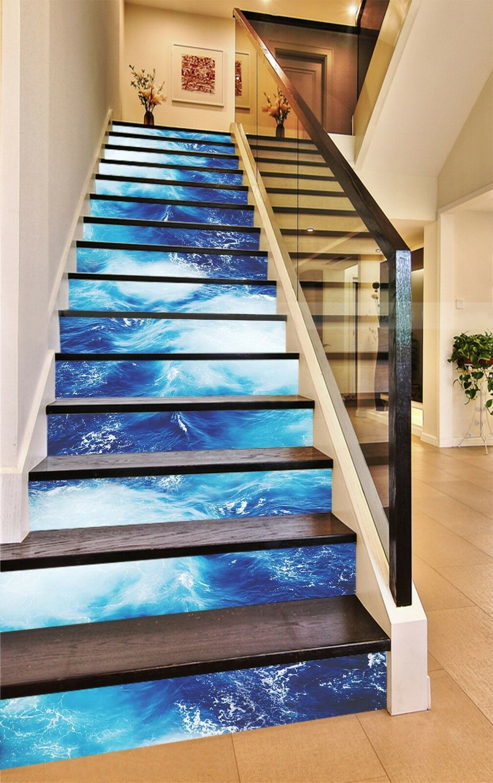3D Bule Sea Pattern Stair Risers Decoration Photo Mural Vinyl Decal WandPapier UK