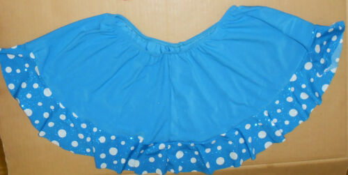 NWT DANCE Costume Dotted Ruffle Skirt Turquoise Latin Child//Ladies Sizes
