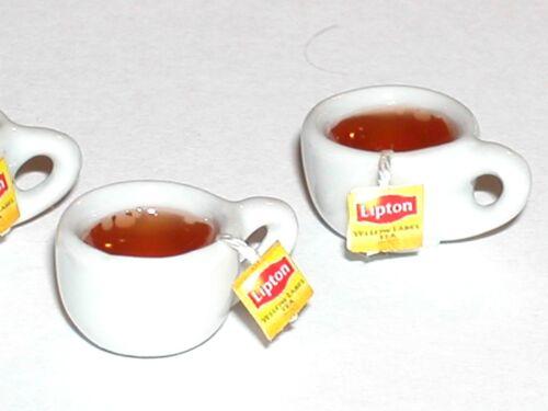 1 Miniature dollhouse Coffee Hot Lipton cookie Tea bag Tall drink cup food charm