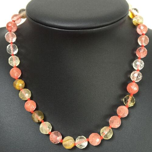 "HOT 10mm Faceted Watermelon Tourmaline Quartz Gem Jewelry Gift Necklace 18/"""