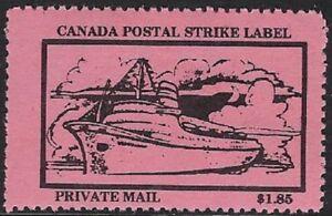 Canada Cinderella: cc5160 Canada Postal Strike 1987 - $1.85 pink MNH - dw817Ac