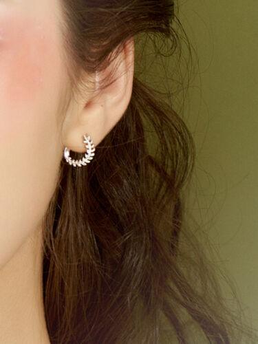 925 Sterling Silver Plain Olive Laurie Branch Leaf Circle Hoop Huggie Earrings