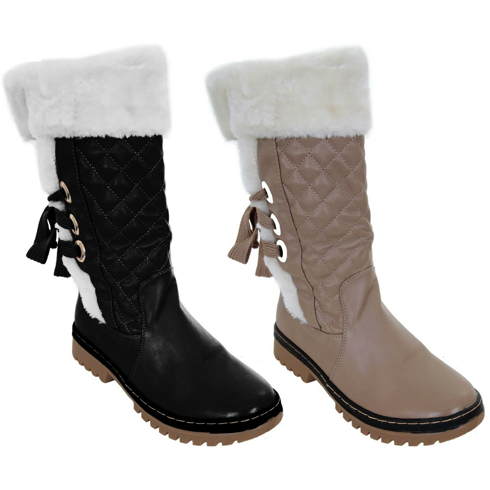 Ladies Lace up Back Faux Leather Fur Lined Inner Calf Knee High Flat Snow Boots