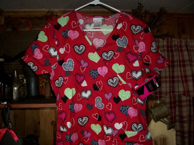 b7b85acd028 SCRUB STAR LADIES HEART DESIGN NURSING SCRUB TOP SIZE MEDIUM CROSS OVER  FRONT for sale online