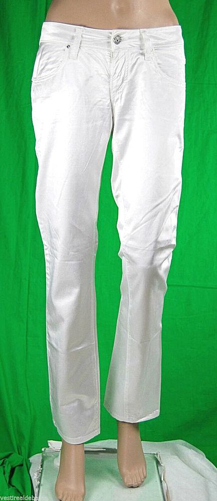 Pantaloni Donna In Raso Met Jeans C554 Bianco Tg 25 27 28 29 Veste Piccolo Prix De Vente Directe D'Usine