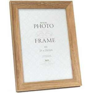 "STUDLEY LIGHT WOOD VENEER TO HANG OR STAND GLASS PHOTO FRAME 6/"" X 4/"""