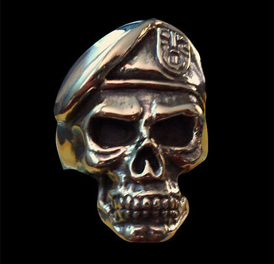 Bronze Special Forces GROM Skull Biker Ring - Any Size - Free Shipping