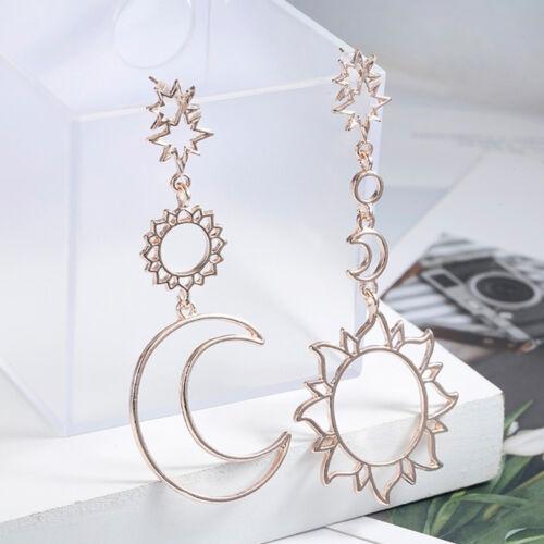 Les femmes Dangle Boucles d/'Oreilles Creux Lune Soleil Asymétrie Boucles d/'oreilles Parti Bijoux Cadeau
