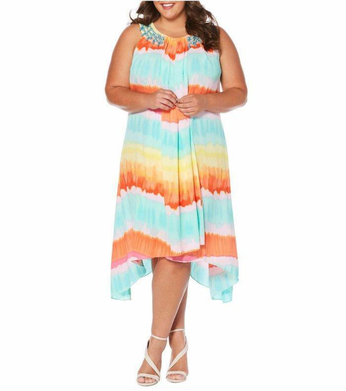 RAFAELLA® Plus Size 1X, 3X Watercolor Stripe Dress NWT