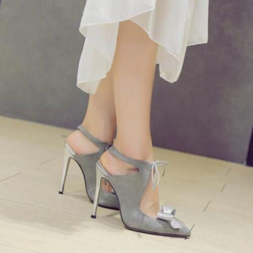 Decolte Grigio Cw303 12 Donna Eleganti Tacco Pelle Sandali Cm Simil Stiletto 01rwq0x