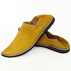 Orientalische Spitzschuhe Ledershuhe Marokko Echt Leder Pantoffel Aladin Gelb Hochwertige Materialien