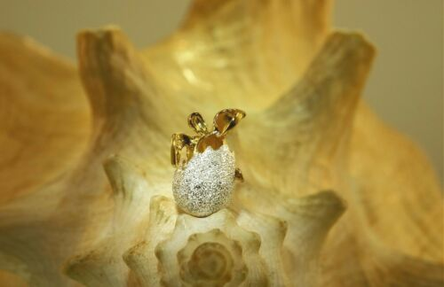 YELLOW GOLD PLATED 925 SILVER HAWAIIAN DC BABY TURTLE EGG HATCHLING PENDANT #3