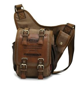 Men's boys Canvas Leather Shoulder Military Messenger Sling school ...